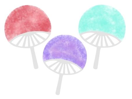 Watercolor style fan set