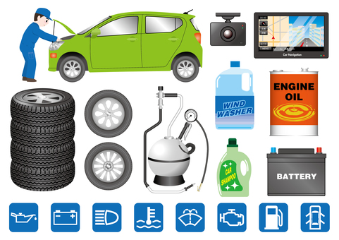 Car inspection and car supplies illustration