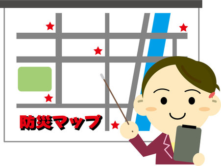 A woman explaining disaster prevention map