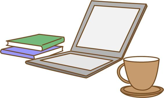 Computer, book and coffee