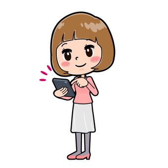 粉紅色的衣服,年輕女子,智能手機