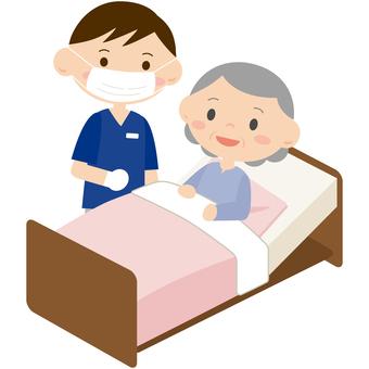 在床上接受治疗的妇女1
