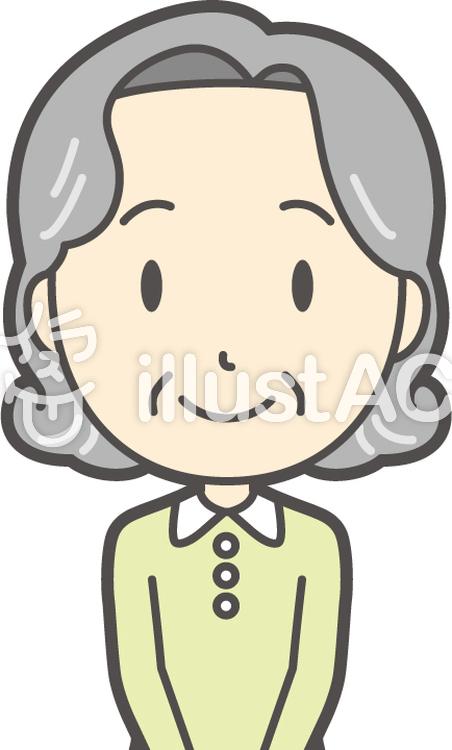 老人ボブ女性-272-バストのイラスト