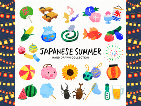 Japanese summer / hand-drawn style illustration set