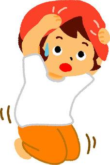 女孩保護地震頭