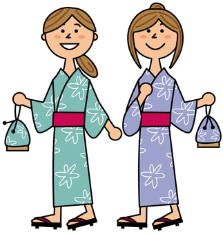 Two women walking in a yukata
