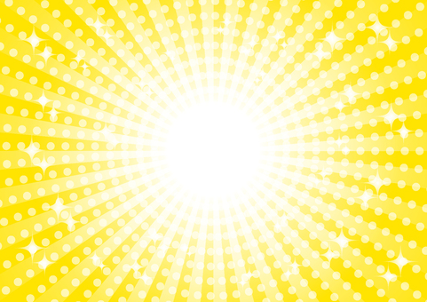 黄色の集中線キラキラ背景素材
