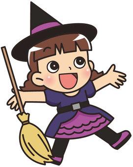 ハロウィンのコスプレをする女の子