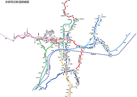 Railway route map around Kyoto