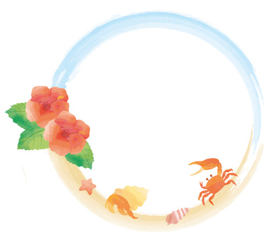 Circle frame on tropical beach Watercolor style