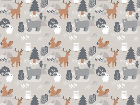 森の動物パターン 冬