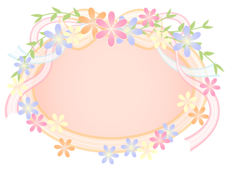 Flower and ribbon frame