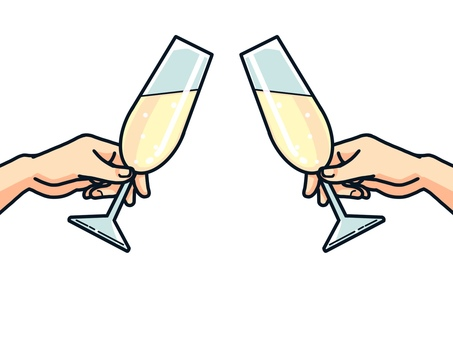 Illustration of a toast (champagne)