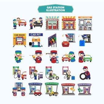 Petrol station illustration