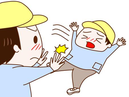 A boy who pushes a boy