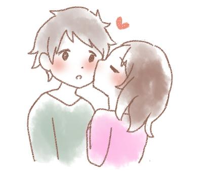 一對夫婦(臉頰上的吻)