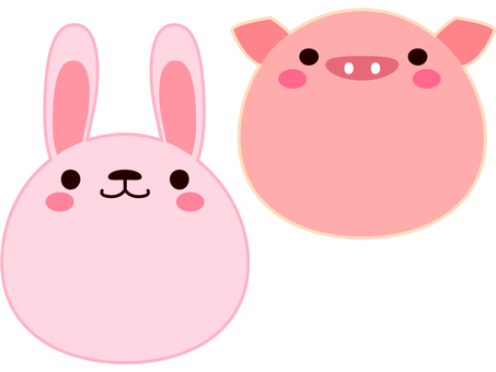 Face Animal Rabbit and Pig