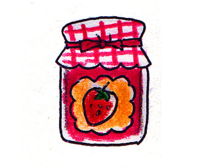 Strawberry jam bottle