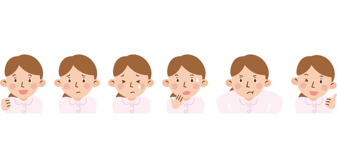 Nurses with various expressions