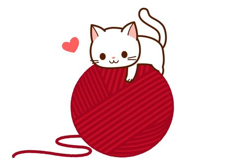 Cats hugging the yarn ball