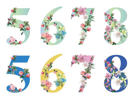 Flower letter number 5-8