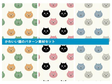 Cute cat pattern material set B