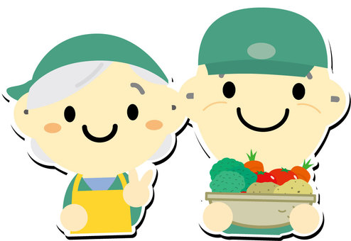 An old couple who is willing to harvest vegetables in the field