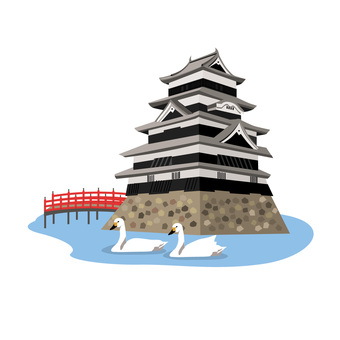 Matsumoto Castle Red bridge and swan