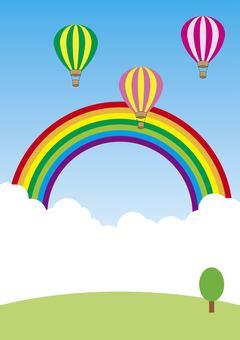 Sky, rainbow and balloon illustrator