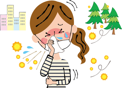 Women wiping with hay fever sneezing runny nose tissue