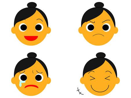Cut face icon female empire and sadness
