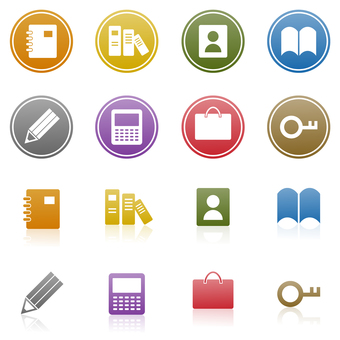 Notebook, book, calculator icon set