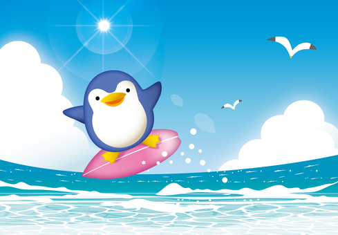 Midsummer sea and penguin surfing