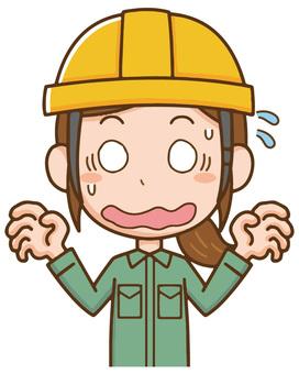 작업자 헬멧 여성 놀라 곤란