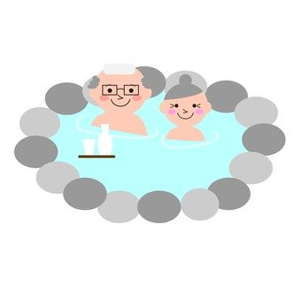 A couple and a hot spring