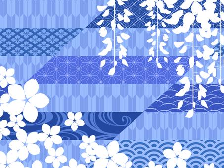 桜と藤の和風背景素材/青