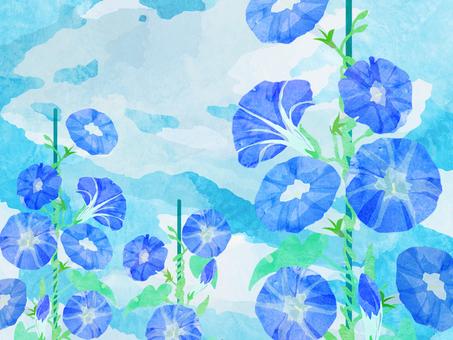 朝顔 青空 壁紙 ⑪ 水彩