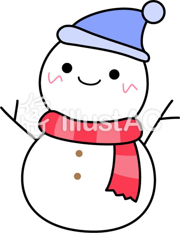 かわいい雪だるま_線ありイラスト , No 623159/無料イラスト