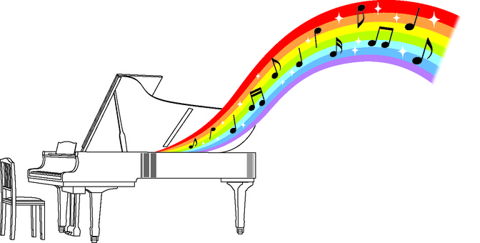 Rainbow music flowing from the piano