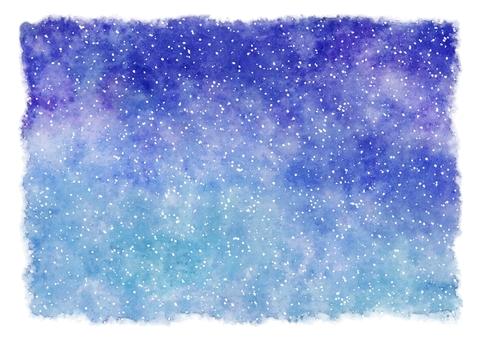 Winter snow sky · starry sky watercolor painting