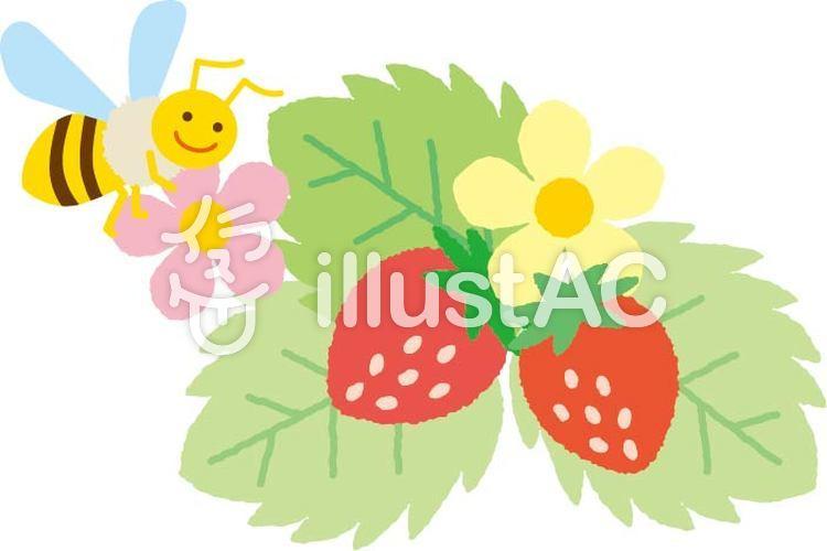 いちごと葉っぱ蜜蜂3イラスト No 無料イラストなら イラストac