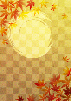 Red leaves _ plaid _ gold foil _ 縦 type 2267