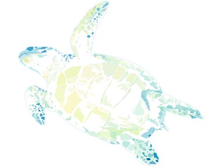 Cut watercolor swim turtles