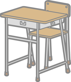 School desk and chair 2 (front)