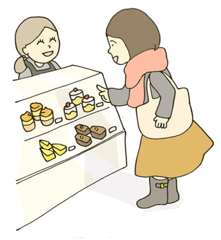 A woman choosing a cake