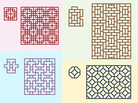 패턴 - 중국 문양 - 세트 격자
