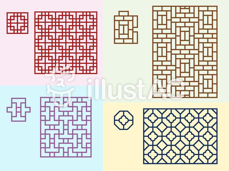 中国文様-組格子パターンのイラスト