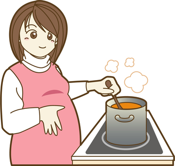 Pregnant women cooking