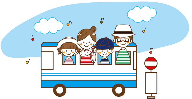 Family 4 people _No.03 going out bus