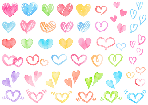A colorful heart assortment